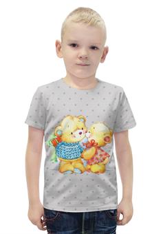 """Футболка с полной запечаткой для мальчиков """"Романтичные мишки. Парные футболки."""" - подарок, парные, медведи, мишки"""