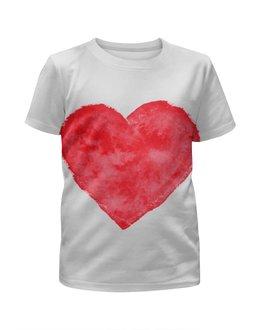 """Футболка с полной запечаткой для мальчиков """"Red heart"""" - сердце, красное сердце, большое сердце"""