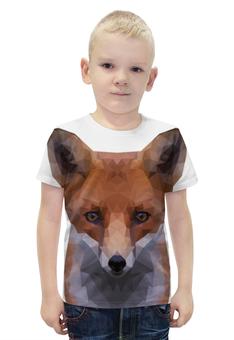 """Футболка с полной запечаткой для мальчиков """"FOX   """" - арт, животные, рисунок, лиса, лоуполи"""