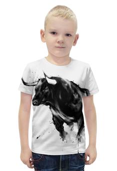 """Футболка с полной запечаткой для мальчиков """"Чёрный бык"""" - животные, бык, bull"""