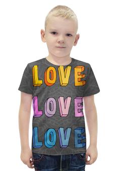 """Футболка с полной запечаткой для мальчиков """"It's my love-love"""" - любовь, 14 февраля, узоры, it's my love"""