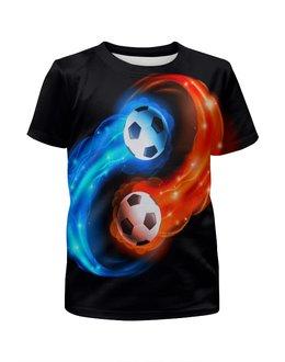 """Футболка с полной запечаткой для мальчиков """"Футбольные мячи"""" - футбол, мяч, спорт, футболист, игры"""