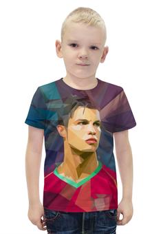 """Футболка с полной запечаткой для мальчиков """"Футбольная мозайка Криштиану Роналду"""" - футбол, арт, хит, криштиану роналду"""