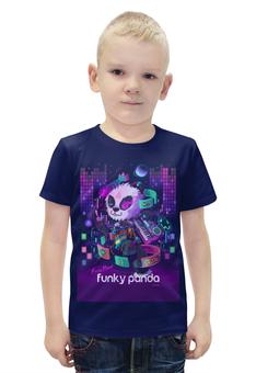 """Футболка с полной запечаткой для мальчиков """"Funky Panda"""" - музыка, bear, медведь, панда, panda"""