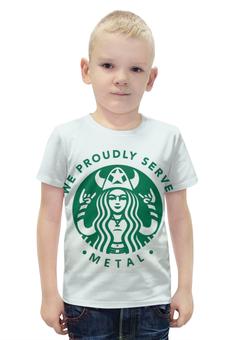 """Футболка с полной запечаткой для мальчиков """"Starbucks / Forever Metal"""" - heavy metal, кофе, coffee, starbucks, старбакс"""