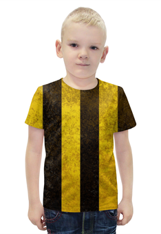 """Футболка с полной запечаткой для мальчиков """"Полосы 2"""" - чёрный, жёлтый, полосы"""