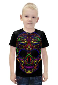 """Футболка с полной запечаткой для мальчиков """"Skull Art"""" - skull, череп, artwork, цветной череп, арт дизайн"""