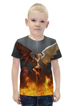 """Футболка с полной запечаткой для мальчиков """"Демон и ангел """" - ангел, ад, дьявол, мистика"""