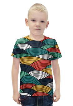"""Футболка с полной запечаткой для мальчиков """"Цветные волны"""" - узор, стиль, орнамент, абстракция, волны"""