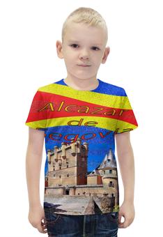 """Футболка с полной запечаткой для мальчиков """"Замки Испании. Замок Сеговия."""" - желтый, испания, замок, полоски, крепость"""