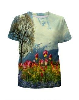 """Футболка с полной запечаткой для мальчиков """"Горный пейзаж"""" - растение, весна, природа, горы, цветочки"""
