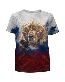 """Футболка с полной запечаткой для мальчиков """"Русский Медведь"""" - футбол, медведь, россия, флаг, триколор"""