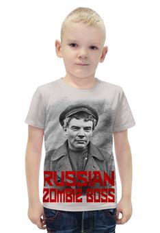 """Футболка с полной запечаткой для мальчиков """"Lenin Russian Zombie Boss"""" - зомби, ссср, lenin, ленин, россия"""
