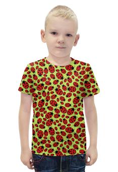 """Футболка с полной запечаткой для мальчиков """"Design ladybugs"""" - узор, насекомое, жук, божья коровка, ladybugs"""