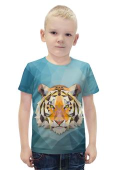 """Футболка с полной запечаткой для мальчиков """"Полигональный Тигр"""" - тигр, звери, геометрия, полигоны"""