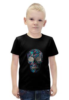 """Футболка с полной запечаткой для мальчиков """"Череп со стразами"""" - череп, арт, рисунок, череп со стразами"""