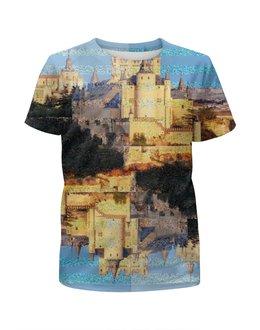 """Футболка с полной запечаткой для мальчиков """"Испанские замки.Замок Сеговия."""" - голубой, небо, замок, полоски, крепость"""