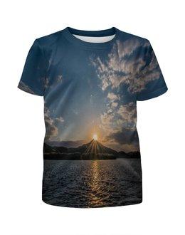"""Футболка с полной запечаткой для мальчиков """"Закат """" - солнце, море, природа, закат, горы"""