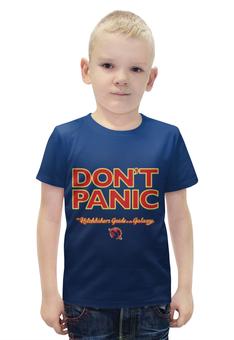 """Футболка с полной запечаткой для мальчиков """"Автостопом по галактике """" - 42, dont panic, hitchhiker's guide to the galaxy"""