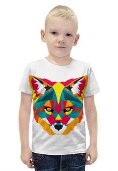 """Футболка с полной запечаткой для мальчиков """"FOX   """" - fox, лиса, яркий принт, полигоны"""