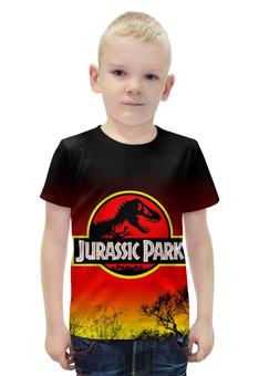 """Футболка с полной запечаткой для мальчиков """"Парк Юрского Периода"""" - динозавры, ужасы, парк юрского периода, jurassic park"""