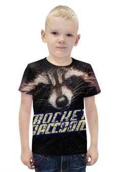 """Футболка с полной запечаткой для мальчиков """"ROCKET RACCOON"""" - комикс, взгляд, енот, ракета, стражи галактики"""