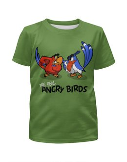 """Футболка с полной запечаткой для мальчиков """"The real Angry Birds"""" - юмор, пародия, попугаи, птички"""