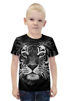 """Футболка с полной запечаткой для мальчиков """"Белый Тигр"""" - животные, тигр, иллюстрация"""