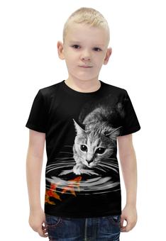 """Футболка с полной запечаткой для мальчиков """"Кот и Рыбки"""" - кот, коты, рыба, золотые рыбки"""
