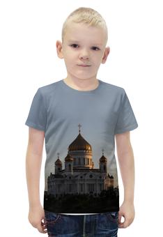 """Футболка с полной запечаткой для мальчиков """"Храм Христа Спасителя"""" - москва, храм, храм христа спасителя"""