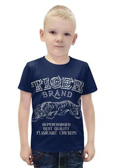 """Футболка с полной запечаткой для мальчиков """"Tiger brand"""" - тигр"""