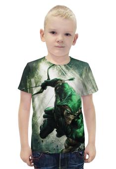 """Футболка с полной запечаткой для мальчиков """"Зелёная стрела"""" - супергерой, green arrow, зелёная стрела"""