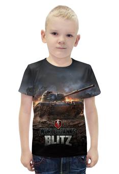 """Футболка с полной запечаткой для мальчиков """"Мир Танков"""" - война, world of tanks, мир танков, wot, blitz"""