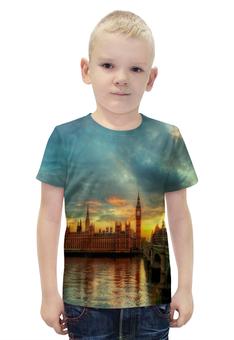 """Футболка с полной запечаткой для мальчиков """"Лондон"""" - страны, города, лондон, закат, река"""