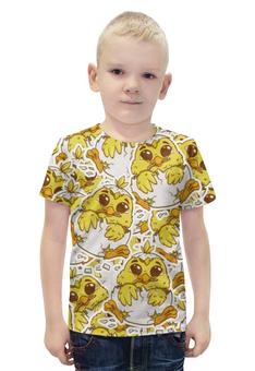 """Футболка с полной запечаткой для мальчиков """"Цыпленок"""" - персонаж, желтый, яйца, цыпленок"""