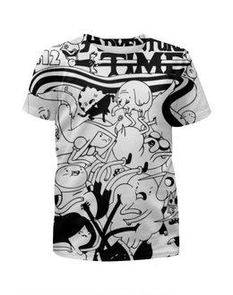 """Футболка с полной запечаткой для мальчиков """"Время приключений Adventure Time"""" - черно-белый, скетч, adventure time, время приключений, линия"""