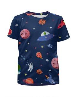 """Футболка с полной запечаткой для мальчиков """"Вселенная (1)"""" - астероиды, планеты, космос"""