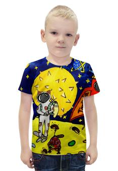 """Футболка с полной запечаткой для мальчиков """"Дети мечтают о космосе"""" - звезды, луна, комос"""