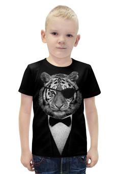 """Футболка с полной запечаткой для мальчиков """"Одноглазый Тигр"""" - животные, тигр"""