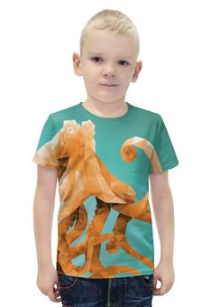 """Футболка с полной запечаткой для мальчиков """"Octopus"""" - животные, море, осьминог, lowpoly"""