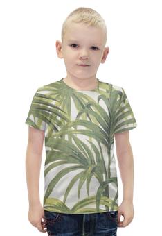 """Футболка с полной запечаткой для мальчиков """"Пальмы"""" - винтаж, природа, иллюстрация, тропики, пальмы"""