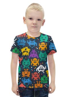 """Футболка с полной запечаткой для мальчиков """"Монстры пиксели"""" - minecraft, pacman, pixel art, пиксели"""