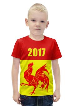 """Футболка с полной запечаткой для мальчиков """"2017 - год Красного Петуха"""" - 2017, красный петух, восточный календарь"""
