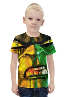 """Футболка с полной запечаткой для мальчиков """"HULK Indestructible"""" - зеленый, супергерой, марвел, халк, зеленое чудовище"""