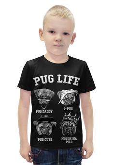 """Футболка с полной запечаткой для мальчиков """"Pug life """" - собачки"""