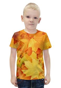 """Футболка с полной запечаткой для мальчиков """"Листья-осень"""" - необычно, ярко, свежо"""