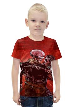 """Футболка с полной запечаткой для мальчиков """"скелеты со стволами """" - черепа, скелеты, стволы"""