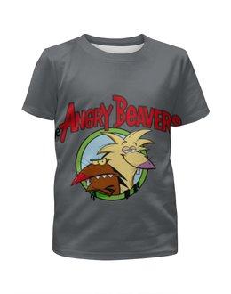"""Футболка с полной запечаткой для мальчиков """"Крутые бобры"""" - крутые бобры, angry beavers, норберт, деггет, злые бобры"""