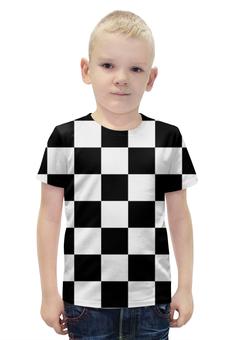 """Футболка с полной запечаткой для мальчиков """"Чёрно-белая клетка"""" - стиль, клетка, минимализм, чёрное и белое"""