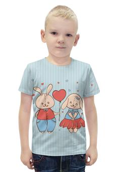 """Футболка с полной запечаткой для мальчиков """"Влюбленные зайцы. Парные футболки."""" - сердца, 14 февраля, парные, зайцы"""